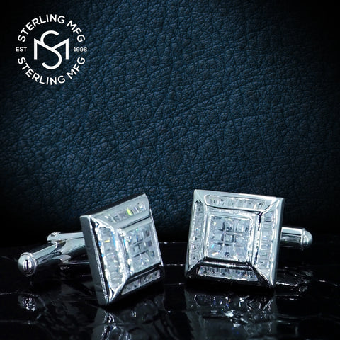 By Sterling Manufacturers 16mm by 16mm Platinum Plated Mens Sterling Silver .925 Square Cufflinks with Channel-Set and Princess-Cut Cubic Zirconia Stones