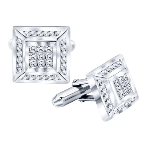 Men's Sterling Silver .925 Square Cufflinks with Channel-Set and Princess-Cut Cubic Zirconia Stones, Platinum Plated, 16mm by 16mm. By Sterling Manufacturers