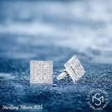 Men's Sterling Silver .925 Square Cufflinks with Channel-Set Baguette and Princess-Cut Cubic Zirconia Stones, Platinum Plated. 19mm. By Sterling Manufacturers