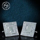 Men's Sterling Silver .925 Large 1 Inch Square Cufflinks with Round Cubic Zirconia (CZ) Stones, Platinum Plated. By Sterling Manufacturers