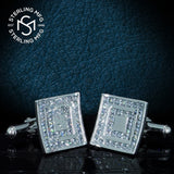 Men's Sterling Silver .925 Square Cufflinks with Princess-Cut Cubic Zirconia Stones, Platinum Plated, 17mm. By Sterling Manufacturers