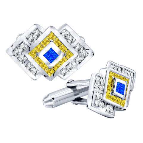 Men's Sterling Silver .925 Geometric Cufflinks with Yellow, Blue and White Cubic Zirconia CZ Stones 17mm by 14 mm. By Sterling Manufacturers