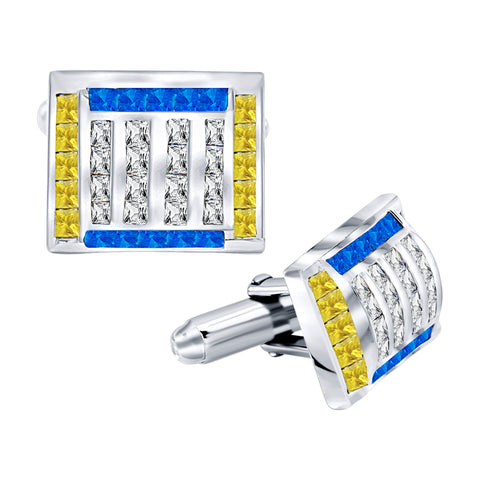 Men's Sterling Silver .925 Cufflinks with Canary Yellow, Azure Blue and White Princess Cubic Zirconia Stones, Platinum Plated. 16mm x 12 mm. By Sterling Manufacturers