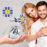 Men's Sterling Silver .925 Original Design Cufflinks with Canary Yellow Princess-Cut, Azure Blue Baguette-Cut and Round-Cut Cubic Zirconia Stones, Platinum Plated, Secure Solid Hinges, 15 mm