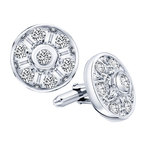 Men's Sterling Silver .925 Original Design Large Round Cufflinks with Cubic Zirconia Stones, 22mm