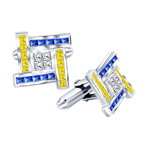Men's Sterling Silver .925 Cufflinks with Canary Yellow, Azure Blue and White Princess-Cut Cubic Zirconia Stones, Platinum Plated, 18 mm. By Sterling Manufacturers