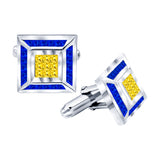 Men's Sterling Silver .925 Cufflinks with Canary Yellow and Azure Blue Princess-Cut Cubic Zirconia Stones, Platinum Plated, 18 mm Square. By Sterling Manufacturers