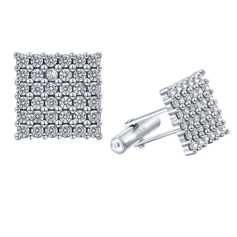 Men's Sterling Silver .925 Square Cufflinks with White Round Cubic Zirconia (CZ) Stones, Platinum Plated. 15 mm Square. By Sterling Manufacturers