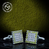 Men's Sterling Silver .925 Original Design Square Cufflinks with Chartreuse Green and White Cubic Zirconia (CZ) Stones, Platinum Plated, Secure Solid Hinges, 15 mm Square.