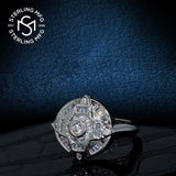 Men's Sterling Silver .925 Designer Ring Featuring 42 Round and Baguette Cubic Zirconia (CZ) Stones, Platinum Plated. By Sterling Manufacturers