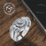 Men's Sterling Silver .925 Ring Featuring 34 Round, Square, and Baguette Cubic Zirconia (CZ) Stones, Platinum Plated. By Sterling Manufacturers