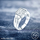 Men's Sterling Silver .925 Ring with Princess-Cut Invisible-Set Look Cubic Zirconia (CZ) Stone, Platinum Plated. By Sterling Manufacturers