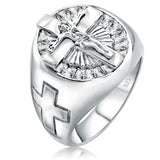 Men's Sterling Silver .925 Jesus Cross Crucifix Ring with 22 Baguette Cubic Zirconia (CZ) Stones, Platinum Plated. By Sterling Manufacturers