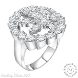 Men's Sterling Silver .925 Marijuana Cannabis Leaf Ring with Cubic Zirconia (CZ) Stones, Platinum Plated.