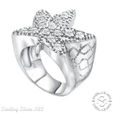 Men's Sterling Silver .925 High Polish Marijuana Cannabis Leaf Ring with Fancy Cubic Zirconia (CZ) Stones