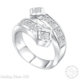 Men's Sterling Silver .925 Wrap Ring Featuring Princess Cut Invisible Channel Set Cubic Zirconia (CZ) Stones, Platinum Plated.