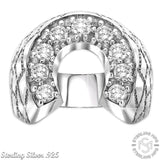 Men's Sterling Silver .925 Horse Shoe Ring with 9 Round Cubic Zirconia (CZ) stones, Indentical Appearance to Platinum or White Gold
