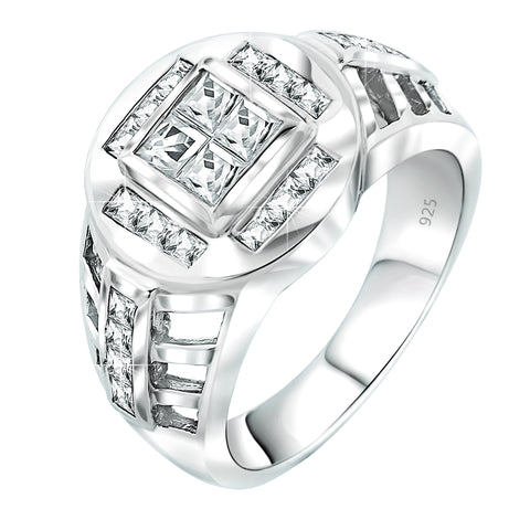 Men's Elegant Sterling Silver .925 Designer Ring with Fancy Cubic Zirconia (CZ) Invisible and Channel Set Stones, Platinum Plated.