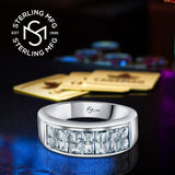 Sterling Silver .925 Ring Band Featuring Channel-Set Invisible Look Cubic Zirconia (CZ) Stones, Platinum Plated. For Men Women. By Sterling Manufacturers