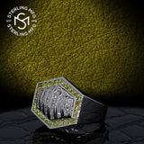 Men's Sterling Silver .925 Hexagonal Ring Featuring 64 White and Canary Yellow Round and Baguette Cubic Zirconia (CZ) Stones, Platinum Plated.