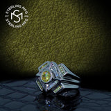 Men's Sterling Silver .925 Designer Ring Featuring a 1.75 Carat White Cubic Zirconia (CZ) Center Stone Surrounded by 36 Clear and Light Canary Baguette (CZ) Stones, Platinum Plated.
