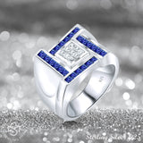 Men's Sterling Silver .925 Designer Ring Featuring Princess Cut Invisible and Channel Set Clear and Blue Cubic Zirconia (CZ) Stones , Platinum Plated. By Sterling Manufacturers