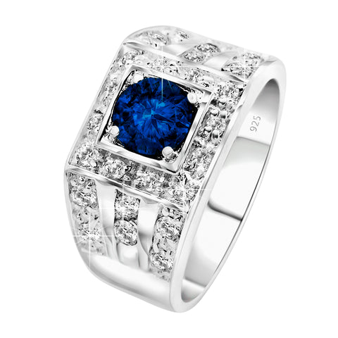 Men's Elegant Sterling Silver .925 High Polish Ring Featuring a Synthetic Sapphire Blue Round Stone Surrounded by 30 Sparkling White Cubic Zirconia (CZ) Stones