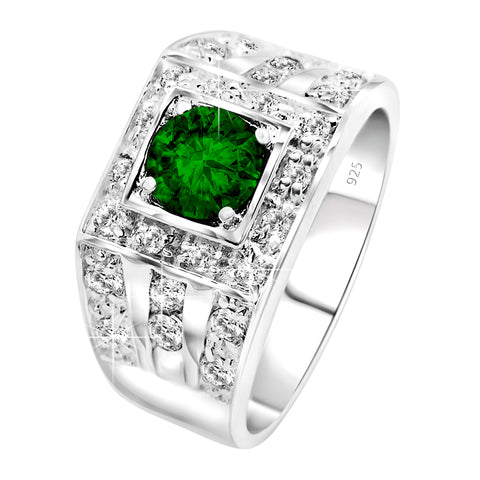 May Birthstone, Men's Sterling Silver .925 Ring Featuring a Green Round Synthetic Emerald and White Cubic Zirconia (CZ) Stones. By Sterling Manufacturers