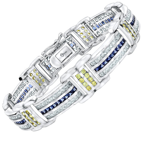 "Men's Sterling Silver .925 Bracelet with Blue, White and Yellow Cubic Zirconia (CZ) Stones, Box Lock, Platinum Plated 8"" or 9"" By Sterling Manufacturers"