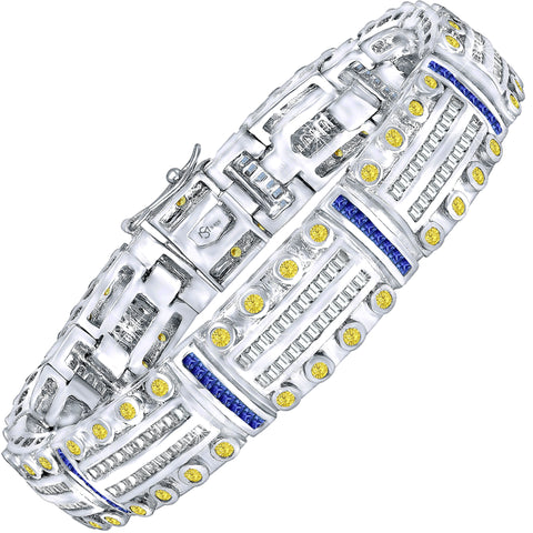 "Men's Sterling Silver .925 Bracelet with Canary Yellow and Azure Blue Cubic Zirconia (CZ) Stones,with Box Lock, Platinum Plated. 8"" or 9"". By Sterling Manufacturers"