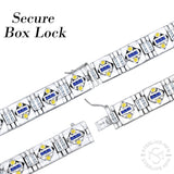 "Men's Sterling Silver .925 Bracelet with Azure Blue, Canary Yellow and White Cubic Zirconia (CZ) Stones, Box Lock, Platinum Plated. 8"" or 9"" By Sterling Manufacturers"