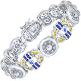 "Men's Sterling Silver .925 Bracelet with Beautiful Azure Blue, Canary Yellow and White Channel-Set (CZ) Stones, Box Lock, Platinum Plated. 8"" or 9"" By Sterling Manufacturers"