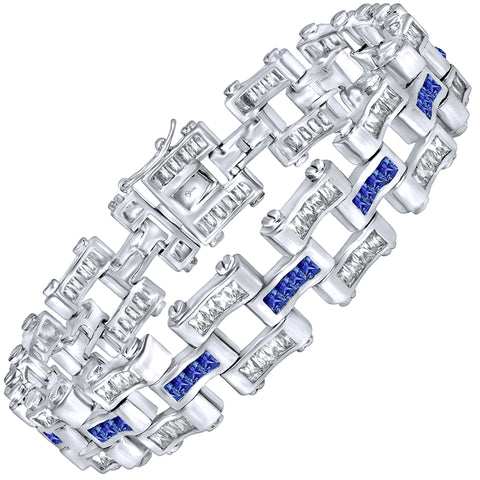 "Men's Sterling Silver .925 Bracelet with Fancy Azure Blue and Elegant White Baguette Cubic Zirconia (CZ) Stones, Box Lock, Platinum Plated. 8"" or 9"". By Sterling Manufacturers"