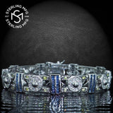"Men's Sterling Silver .925 Bracelet with Blue, Yellow, and White Cubic Zirconia (CZ) Stones, Box Lock, Platinum Plated. 8"" or 9"" By Sterling Manufacturers"