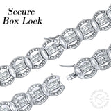 "Men's Sterling Silver .925 Bracelet with Fancy Princess-Cut and Round Channel-Set Cubic Zirconia (CZ) Stones, Box Lock, Platinum Plated. Sizes 8"" 9"". By Sterling Manufacturers"
