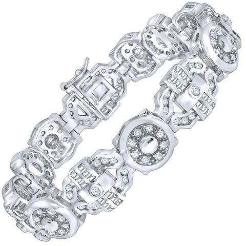 "Men's Fancy Sterling Silver .925 Bracelet with Channel-Set Baguette and Round Cubic Zirconia (CZ) Stones, Box Lock, Platinum Plated. Sizes 8"" 9"". By Sterling Manufacturers"
