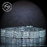 "Men's Elegant Sterling Silver .925 Bracelet with Channel-Set Princess-Cut Cubic Zirconia (CZ) Stones, Box Lock, Platinum Plated. Sizes 8"" 9"". By Sterling Manufacturers"