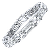 "Men's Sterling Silver .925 Bracelet with Channel-Set Round Cubic Zirconia (CZ) Stones, Box Lock, Platinum Plated. Sizes 8"" 9"". By Sterling Manufacturers"