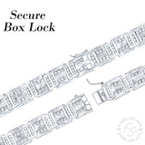 "Men's Fancy Sterling Silver .925 Bracelet with Channel-Set Princess and Round Cubic Zirconia (CZ) Stones, Box Lock, Platinum Plated. Sizes 8"" 9"". By Sterling Manufacturers"