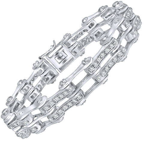 "Men's Sterling Silver .925 Unique Bicycle Link Chain Bracelet with Round Cubic Zirconia (CZ) Stones, Box Lock, Platinum Plated. Sizes 8"" 9"". Original Design By Sterling Manufacturers"