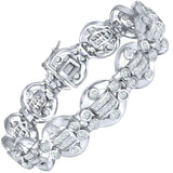 "Fancy Men's Sterling Silver .925 Bracelet with Channel-Set Princess and Round Cubic Zirconia (CZ) Stones, Box Lock, Platinum Plated. Sizes 8"" 9"". Original Design by Sterling Manufacturers"