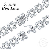 "Men's Fancy Sterling Silver .925 Bracelet with Channel-Set Baguette Cubic Zirconia (CZ) Stones, Box Lock, Platinum Plated. Sizes 8"" 9"". By Sterling Manufacturers"