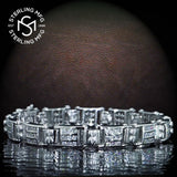 "Men's Elegant Sterling Silver .925 Bracelet with Channel-Set Round Cubic Zirconia (CZ) Stones, Box Lock, Platinum Plated. Sizes 8"" 9"". By Sterling Manufacturers"