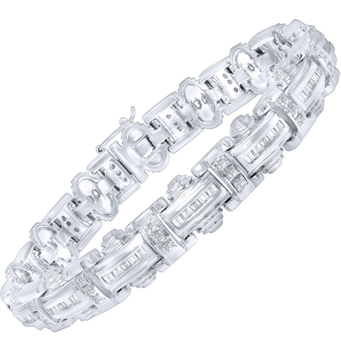 "Men's Fancy Sterling Silver .925 Bracelet with Princess-Cut Cubic Zirconia (CZ) Stones, Box Lock, Platinum Plated. 8"" or 9"" By Sterling Manufacturers"
