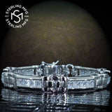 "Men's Sterling Silver .925 Bracelet with Princess-Cut Channel-Set Cubic Zirconia (CZ) Stones, Box Lock, Platinum Plated. Sizes 8"" 9"". By Sterling Manufacturers"