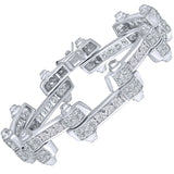 "Men's Fancy Sterling Silver .925 Bracelet with Channel-Set Princess-Cut Cubic Zirconia (CZ) Stones, Box Lock, Platinum Plated. Sizes 8"" 9"". By Sterling Manufacturers"