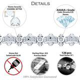 "Men's Fancy Sterling Silver .925 Bracelet with Princess-Cut and Round Cubic Zirconia (CZ) Stones, Box Lock, Platinum Plated. Sizes 8"" 9"". By Sterling Manufacturers"