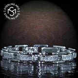 "Men's Fancy Sterling Silver .925 Bracelet with White Princess-Cut Cubic Zirconia (CZ) Stones, Box Lock, Platinum Plated. 8"" or 9"" By Sterling Manufacturers"