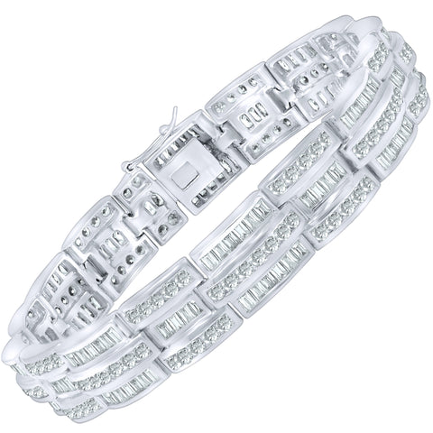 "Men's Sterling Silver .925 Bracelet with Channel-Set Baguette and Round Cubic Zirconia (CZ) Stones, Box Lock, Platinum Plated. 8"" or 9"". By Sterling Manufacturers"