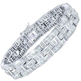 "Men's Fancy Sterling Silver .925 Bracelet with Channel-Set Princess-Cut and Round Cubic Zirconia (CZ) Stones, Box Lock, Platinum Plated. Sizes 8"" 9"". By Sterling Manufacturers"
